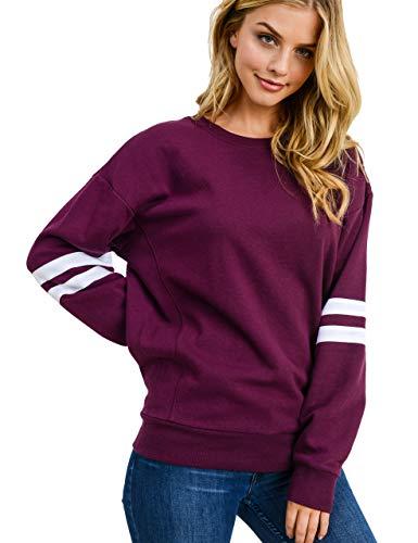 (Women's Basic Fleece Stripe on Sleeves Varsity Sweatshirt, Plum, X-Small)