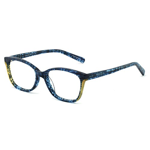 OCCI CHIARI Blue Purple Wayfarer Non-prescription Glasses Eyeglasses Clear Lens Eyewear Frame for Women 52mm (Blue/Yellow)