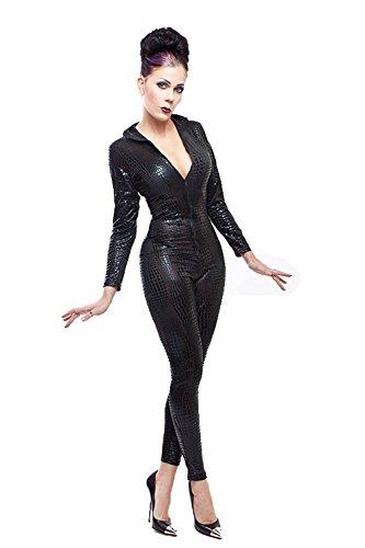 Lycra Catsuit en cocodrilo en negro negro