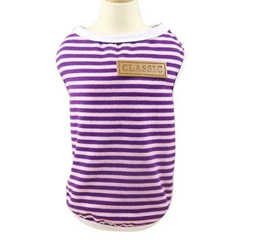 Pet Shirt, Howstar Dog Cat Clothes Puppy Classic Vest Striped T-shirt Pet Summer Apparel (Purple, XL)