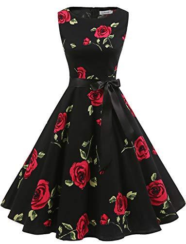 (Gardenwed Women's Audrey Hepburn Rockabilly Vintage Dress 1950s Retro Cocktail Swing Party Dress Black Rose M)