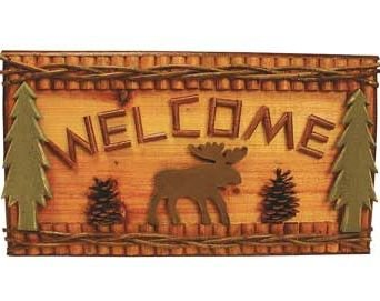 Hand-crafted Moose Welcome Plaque (Made of Wood) 18-inch ()