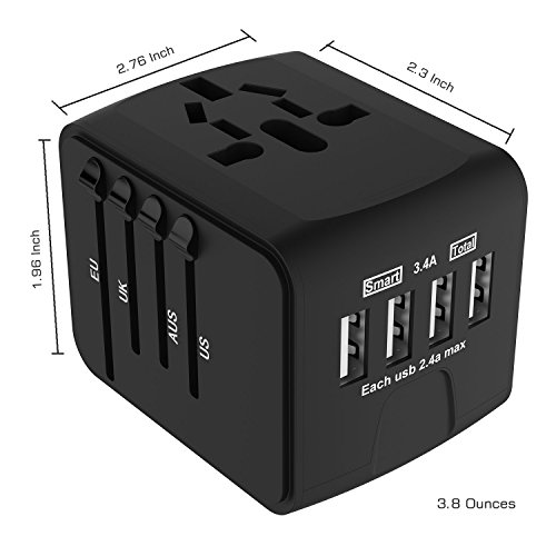 - Worldwide adapter 4 usb travel adapter all in one travel charger with UK US EU AU sockets (black)