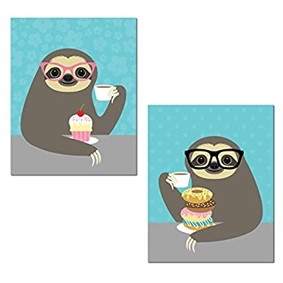 Gango Home Décor Adorable Cupcake And Donut Eating Hipster Sloth Set; Perfect For Any Kitchen; Two 11X14In Unframed Paper Posters - 7353858574647