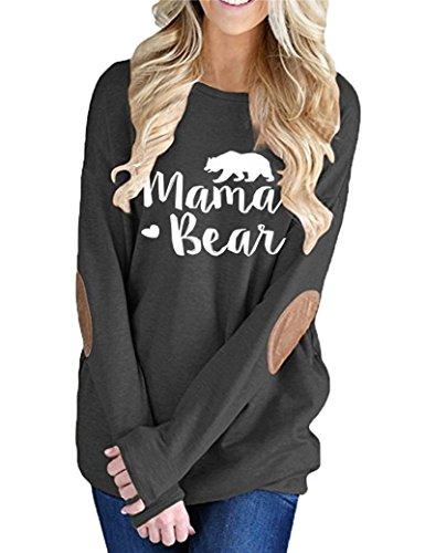 InStylish Women's Mama Bear Printing Long Sleeve Tunic Crewneck Elbow Patch Sweatshirt Tops
