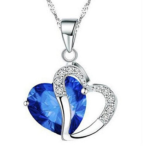 - Willsa Stylish Artificial Gem Love Heart Shape Pendant Chain Necklace Valentines Gift (Dark Blue)