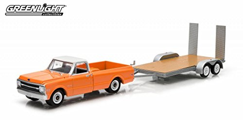 1969 Chevrolet C-10 Pickup Truck Orange & Flatbed Trailer Hitch & Tow Series 2 1/64 by Greenlight 32020C