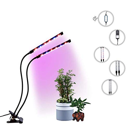 Grow Light for Indoor Plants, 24W Dual Head Timing Grow Lights with Auto Turn on/Off Function, 4/8/12 Timer, 8 Dimmable Levels, Adjustable Gooseneck, Red/Blue Integrated Spectrum (Dual Heads) Review