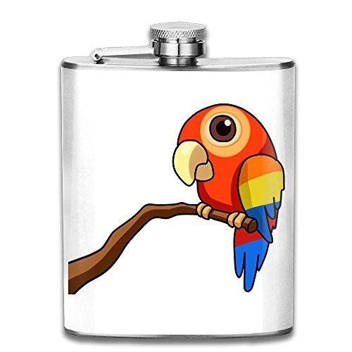 Parrot 7 Oz Hip Flask Stainless Steel Wine Pot - Leak Proof - Men Women (Mockingjay Party Ideas)