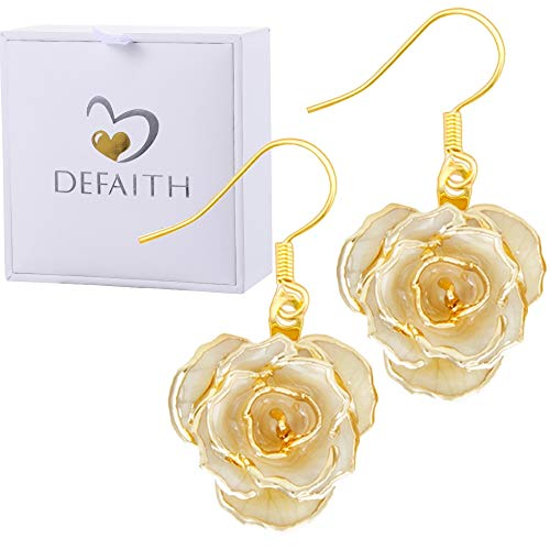 24k Jewelry - DEFAITH Mother's Day Jewelry 24K Gold Rose Earrings Ivory - Made from Fresh Rose, Last Forever - Unique Anniversary Gifts for Her Women Wife Girlfriend