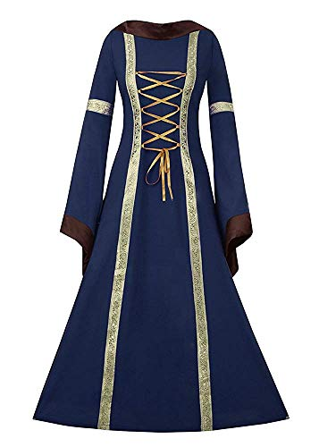 NiuBia Womens Deluxe Medieval Renaissance Costumes Dress Victorian Irish Over Long Dress Cosplay Retro Gown Blue Size Large ()
