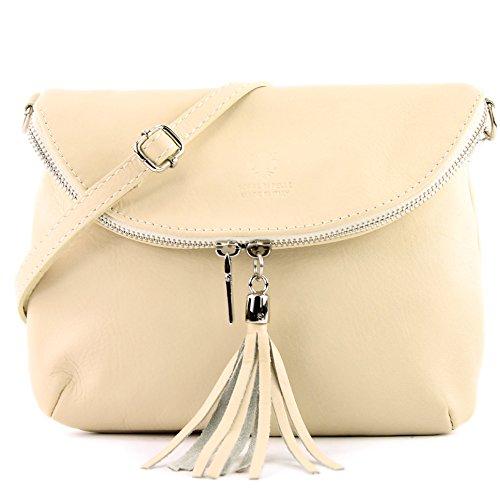 modamoda de - Made in Italy - Bolso cruzados para mujer marfil beige