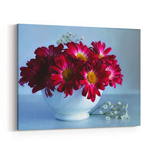 - Rosenberry Rooms Canvas Wall Art Prints - Image of Still Life of Purple and Red Bouquet of Flowers Chrysanthemums and Babys Breath in A Small White Porcelain Vase On The Table On A (14 x 11 inches)