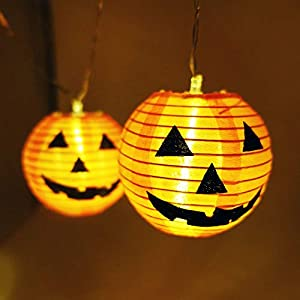 Homewe Halloween Pumpkin String Lights, 10 LEDs DIY Lanterns Battery Powered Halloween Lights for Outdoor,Home,Patio,Garden Decoration (Warm White,5ft)