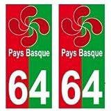 64 Lauburu croix basque fond rouge vert autocollant plaque - arrondis