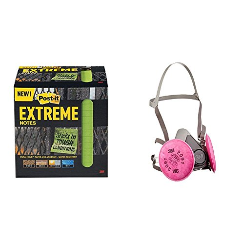 (Post-it Extreme Notes, 3 in x 3 in, 12 pads, 45 sheets per pad, Green (EXTRM33-12TRYG) Bundle with 3M Half Facepiece Reusable Respirator Assembly (AAD), P100 Respiratory Protection )