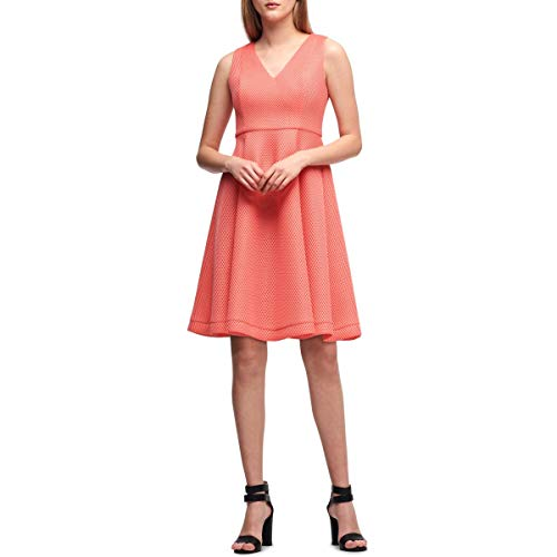 DKNY Womens Sleeveless Above Knee Wear to Work Dress Orange 4 (Dkny Dress Women)