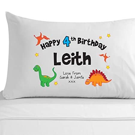 Boys 4th Birthday Gift 100 Egyptian Cotton Pillowcase Personalised Ideas For Him Amazoncouk Kitchen Home