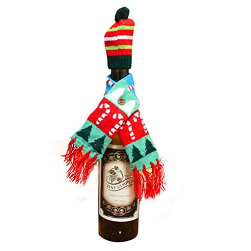 Tenworld Christmas Wine Bottle Cover Decoration Xmas Home Party Decor (B)