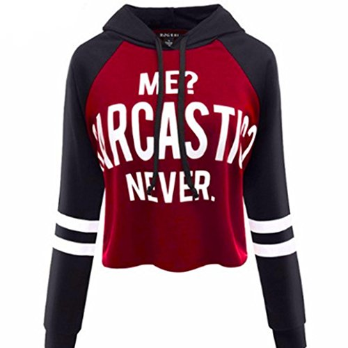 Gotd Women Long Sleeve Round Neck Letters Tank Crop Tops Blouse (M, Black Red)