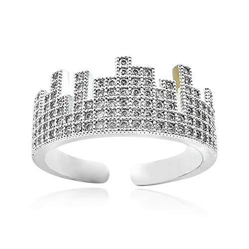Iced Out CZ Adjustable Open Band Ring for Men Women 18k White Gold Plated Cubic Zirconia Micro-Pave Engagement Wedding Wrap Open Ring Castle Silhouette Resize Dainty Unique Punk Bar Open Ring Guy Boy