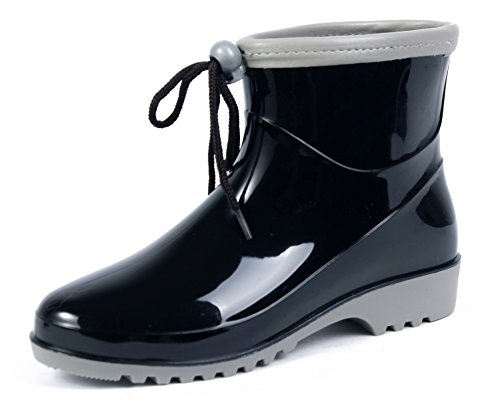 Botas Festival Shoes AgeeMi Seguridad Cordones Mujer Negro Botas Goma Lluvia Agua zFTwqgU