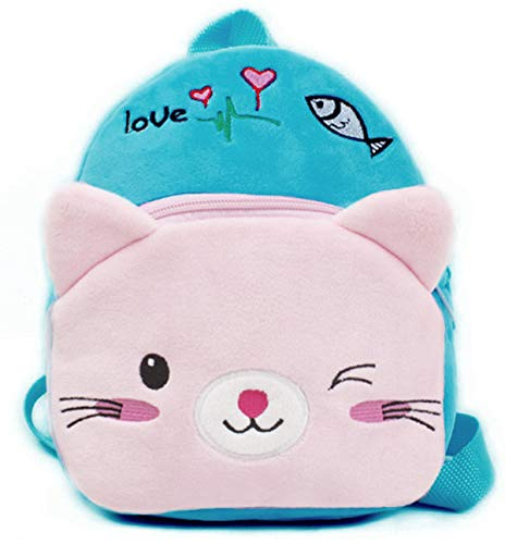 "Smilesky Plush Cat Backpack Toddlers Kids Preschool Cartoon Kitty Animal Shoulder Bags Blue 9.5"""