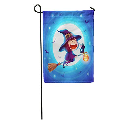 Semtomn Garden Flag Halloween Flying Little Witch Girl Kid in Costume Over The Home Yard House Decor Barnner Outdoor Stand 28x40 Inches Flag]()