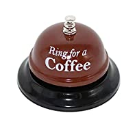 KiaoTime Desk Kitchen Bar Counter Top Service Call Bell Ring for a Coffee Desk Top Bell Ring for Service Call Bell Stage Hens Party Wedding Accessory (Ring for a Coffee)