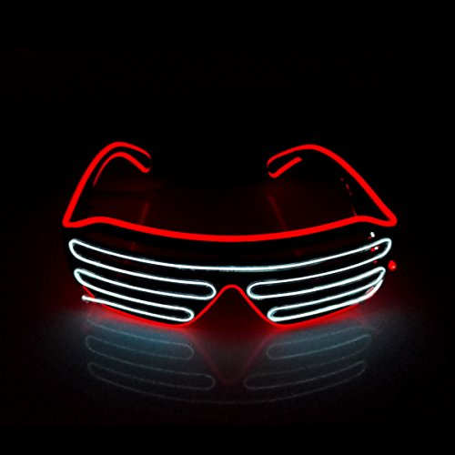 Double Color LED Neon EL Wire shutter glasses for Party Night Club decoration