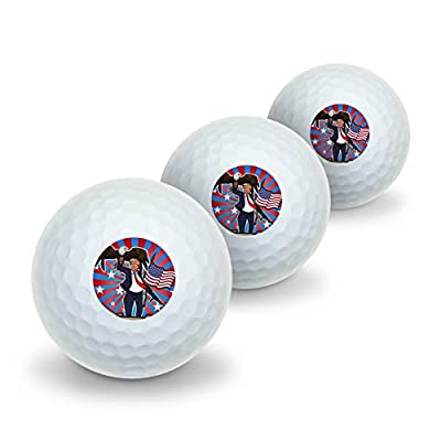 Graphics and More Patriotic Donald Trump with Eagle American Flag Gun Novelty Golf Balls 3 Pack