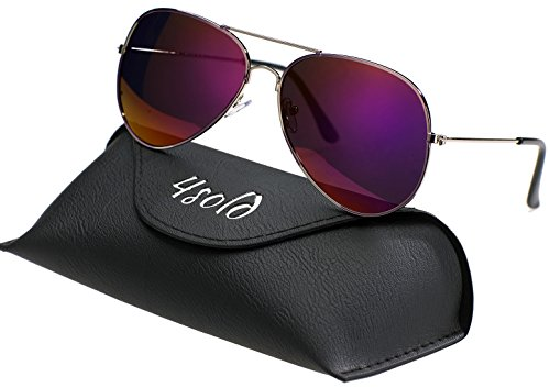 UV 4sold conducción de de caso el Hombre Purple Protección con gafas Aviador polarizado 400 sol Ux0UCnPwrq