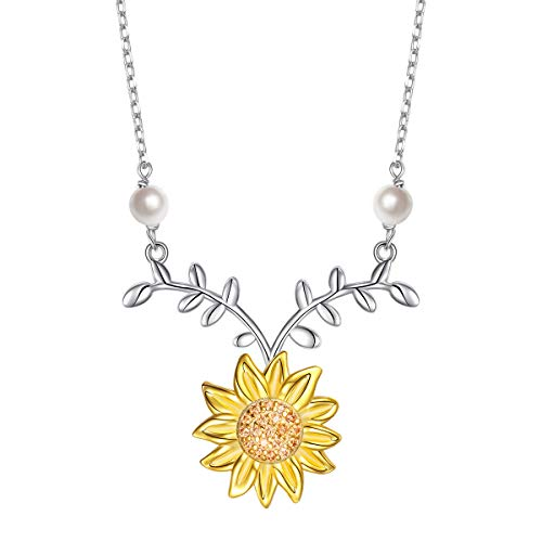 Sterling Silver Sunflower with Simulated Pearl Warmth Sunshine Jewelry Y Pendant Necklace for Women Girls (Necklace) ()