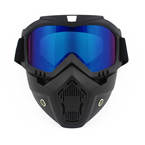 Harley Style Motorcycle Ridding Glasses with Detachable Mask, Windproof, Waterproof Ridding Goggles, Outdoor Sports Comfortable Padding and High Elastic Strap Sunglasses (Color Lens)