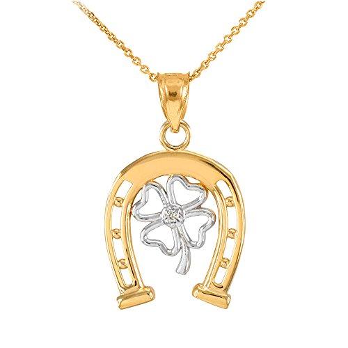 Collier Femme Pendentif Bicolore 14 Ct Or Jaune Chanceux Fer À Cheval avec Diamant Trèfle À Quatre Feuilles (Livré avec une 45cm Chaîne)