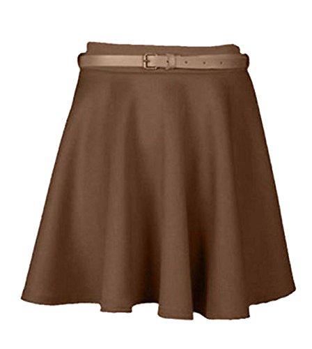 Generic - Jupe Plisse Patineuse Femme Fille Taille Extensible Uni avec Ceinture Jersey Court Taille 36  42 Marron - Moka