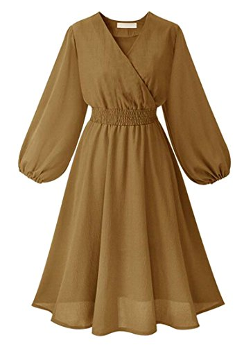 Jaycargogo Womens V Manches Bouffée Entourage Midi Robe Robe Midi Amincissent Swing Khaki