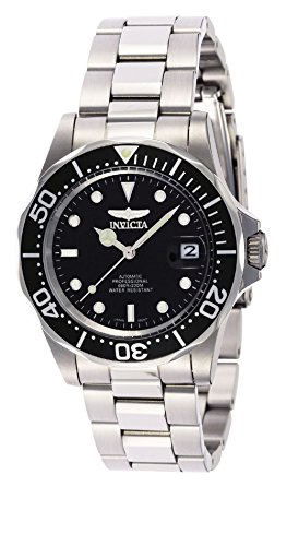 Silver Tone Invicta Bracelet - Invicta Men's 8926 Pro Diver Collection Automatic Watch, Silver-Tone/Black Dial/Half Open Back