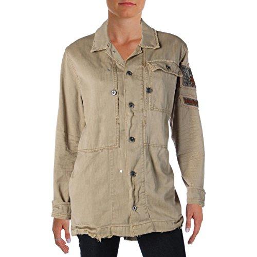 Free People Embellished Military Shirt Jacket Sand (S)