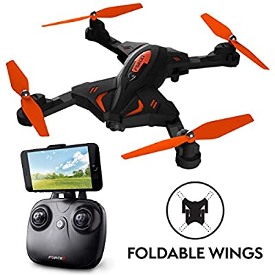Foldable Drones with Camera for Adults or Kids – F111WF WiFi FPV Remote Control Quadcopter Drone for Beginners, Folding RC Drone Helicopter Toy Gifts by Force1