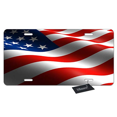 WONDERTIFY American USA Flag License Plate,Flags Waving in The Air Red Blue White Decorative Car Front License Plate,Vanity Tag,Metal Car Plate,Aluminum Novelty License Plate,6 X 12 Inch (4 Holes) Decorative License Plate Tag