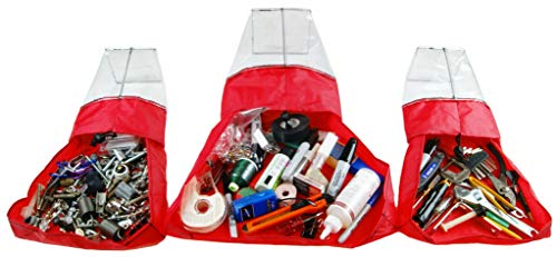 Abricay Maker Bag Set With Fabric Tray Innovation/Search Bag By Spilling Out Contents Using Easy Pick Up Design (3 pack, Red)