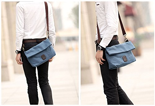 Canvas Shoulder Bag Classic Cross body Sling Bag Messenger Bag for Daily Using Etc Blue by lxctory (Image #5)