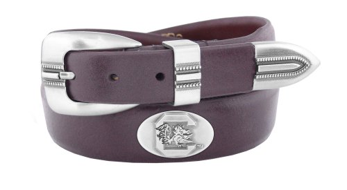 NCAA South Carolina Fighting Gamecocks Brown Tip Leather Concho Belt, 38 (Carolina Mens Leather)