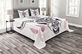 Lunarable Skull Bedspread Set Queen Size, Tribal Animal Skull with Ethnic Ornates and Feather Native Aztek in Folk Art, Decorative Quilted 3 Piece Coverlet Set with 2 Pillow Shams, Pink White Plum