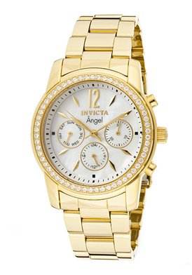 Invicta Women's 11771 Angel White Mother-Of-Pearl Dial Cubic Zirconia Accented 18k Gold Ion-Plated Stainless Steel Watch by Invicta