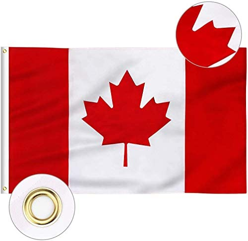 2 Pack 3 X 5 Foot Canada Flags Canadian Flags Durable Polyester Bright And Vivid Color And Uv Fade Resistant Printed Maple Leaf Polyester And Brass Grommets Canada Flag Canadian Flag For All Weather Indoor Outdoor