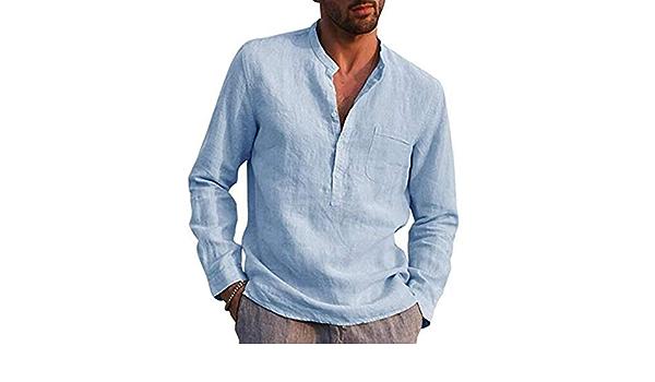 Camisa Casual De Algodón Y Lino con Abuelo Manga Larga Cuello ...