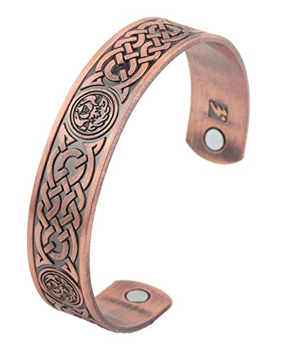 Magnetic Therapy Bracelet Irish Totem Celtic Knot Health Care Wicca Bangle (Antique Copper) Magnetic Rings Bracelets