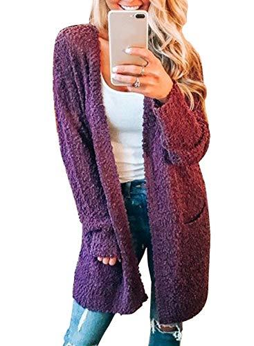 MIHOLL Women's Long Sleeve Pockets Soft Knit Cardigan Sweate